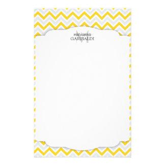 Chevron Yellow and Modern Personalized Customized Stationery
