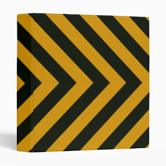 Chevron Yellow Black Hazard Stripes 3 Ring Binder