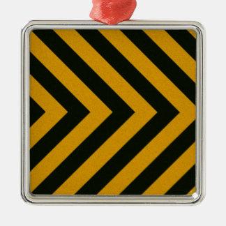Chevron Yellow Black Hazard Stripes Metal Ornament