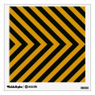 Chevron Yellow Black Hazard Stripes Wall Sticker