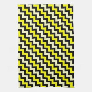 Chevron Yellow Black Wasp Pattern Kitchen Towel at Zazzle