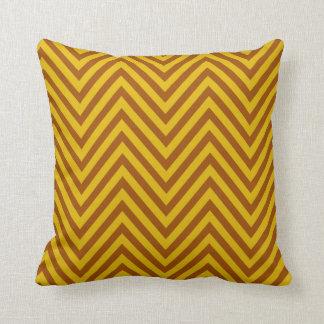 Chevron - yellow brown throw pillow