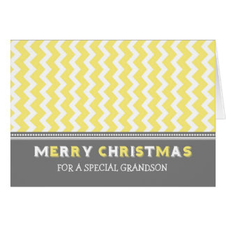 Chevron Yellow Grey Grandson Merry Christmas Card