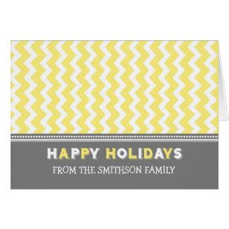 Chevron Yellow Grey Happy Holidays Christmas Card