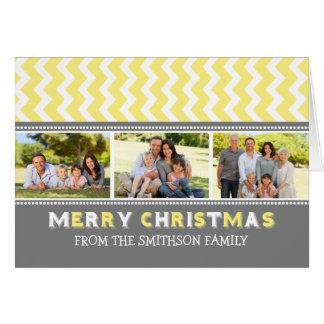 Chevron Yellow Grey Merry Christmas 3 Photo Card