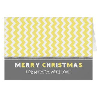 Chevron Yellow Grey Mom Merry Christmas Card