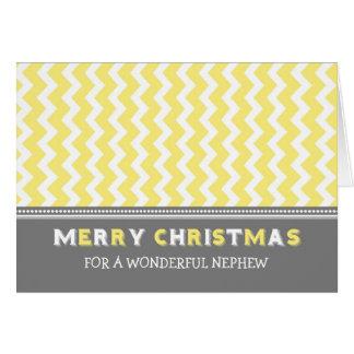 Chevron Yellow Grey Nephew Merry Christmas Card