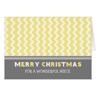 Chevron Yellow Grey Niece Merry Christmas Card