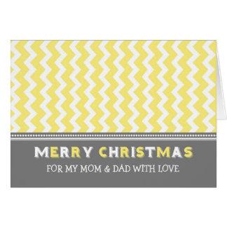 Chevron Yellow Grey Parents Merry Christmas Card