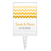 chevron yellow Ombre  personalized cake pick