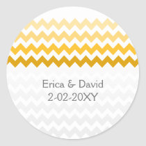 chevron yellow Ombre wedding favor stickers