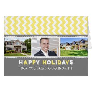 Chevron Yellow Realtor Happy Holidays Photo Card