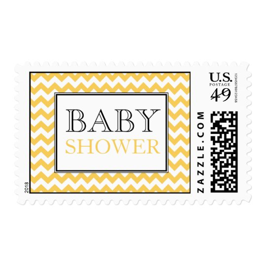 Chevron Yellow & White Baby Shower Postage Stamps