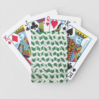 Chevron Zebra Green and White Print Bicycle Playing Cards