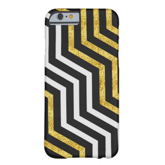 Chevron Zig Zag Black White Gold Stripes iPhone Barely There iPhone 6 Case