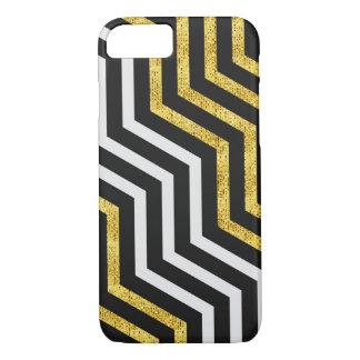 Chevron Zig Zag Black White Gold Stripes iPhone iPhone 7 Case