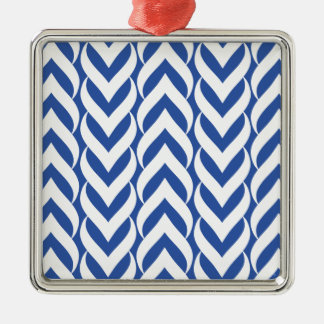 Chevron Zig Zag Blue Christmas Tree Ornament