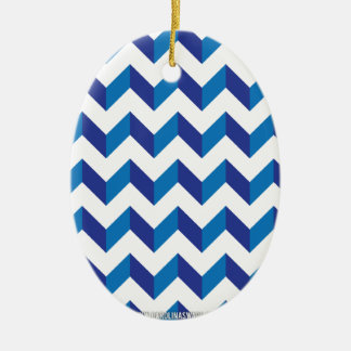 Chevron Zig Zag Blue Christmas Ornaments