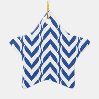 Chevron Zig Zag Blue Christmas Tree Ornaments