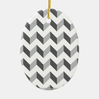 Chevron Zig Zag Grey Christmas Ornament