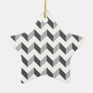 Chevron Zig Zag Grey Christmas Tree Ornament