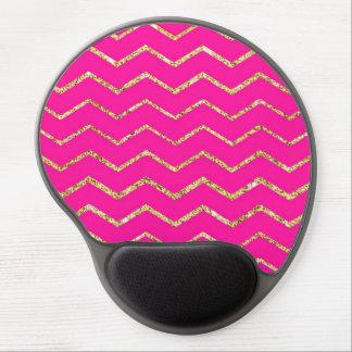 chevron zig zag happy pink gold glitter pattern gel mouse mat
