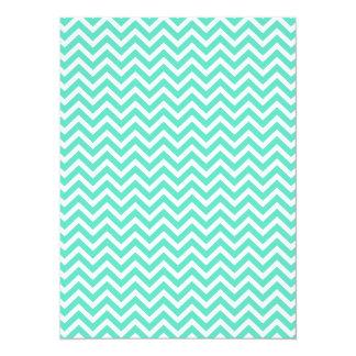 Chevron Zig Zag in Tiffany Aqua Blue 5.5x7.5 Paper Invitation Card