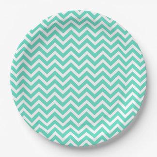 Chevron Zig Zag in Tiffany Aqua Blue Paper Plate