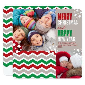 Chevron Zig Zag Merry Christmas Holiday Photo Card