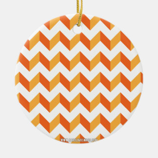 Chevron Zig Zag Orange Christmas Tree Ornament