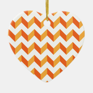 Chevron Zig Zag Orange Christmas Ornament