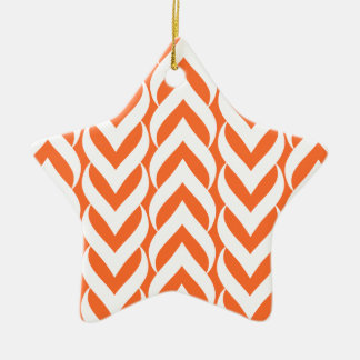 Chevron Zig Zag Orange Christmas Ornaments