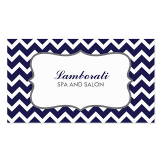 Chevron Zig Zag Pattern Elegant Modern Blue Double-Sided Standard Business Cards (Pack Of 100)