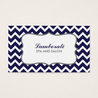 Chevron Zig Zag Pattern Elegant Modern Blue Business Card