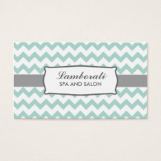 Chevron Zig Zag Pattern Elegant Modern Green Business Card at Zazzle