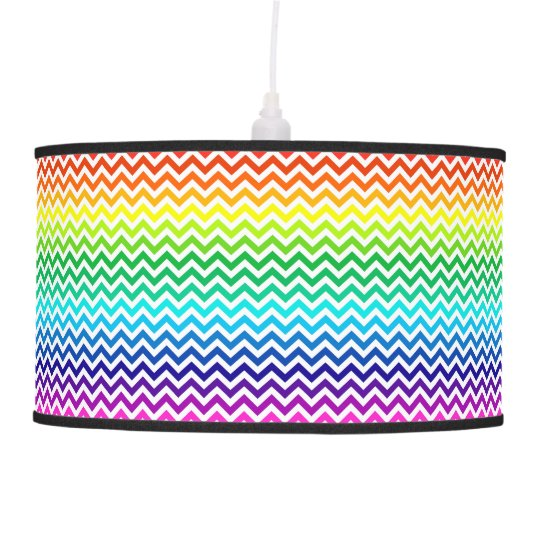Chevron Zig Zag Pattern in Bright Rainbow Colors Hanging Lamp