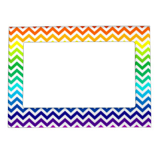 Chevron Zig Zag Pattern in Bright Rainbow Colors Magnetic Frame