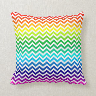 Chevron Zig Zag Pattern in Bright Rainbow Colors Throw Pillow