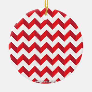 Chevron Zig Zag Red Christmas Tree Ornaments