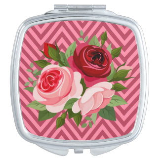 Chevron Zig Zag Roses | pink red Mirror For Makeup