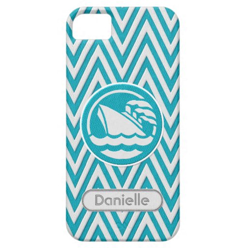 Chevron Zig Zag Stripe Twill Look Cruise Ship Name iPhone 5 Cover