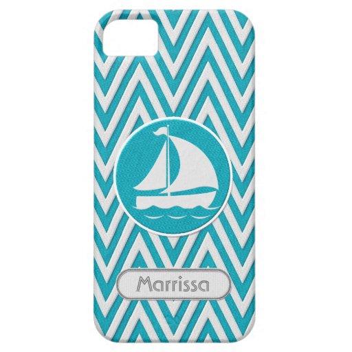 Chevron Zig Zag Stripe Twill Look Sail Boat w Name iPhone SE/5/5s Case