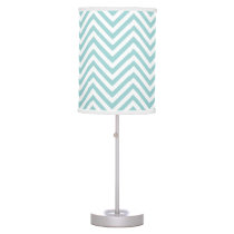 Chevron Zig Zag Striped Pattern in Aqua Blue White Table Lamp