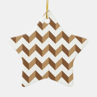 Chevron Zig Zag Tan Christmas Ornament