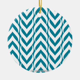 Chevron Zig Zag Teal Christmas Ornaments
