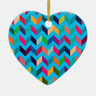 Chevron Zig Zag Wild Colors Blue Ornament