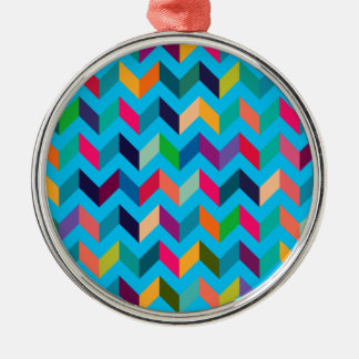Chevron Zig Zag Wild Colors Blue Christmas Ornaments