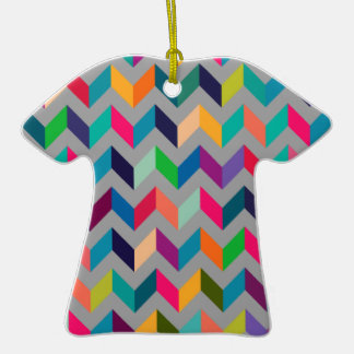 Chevron Zig Zag Wild Colors Grey Ornament
