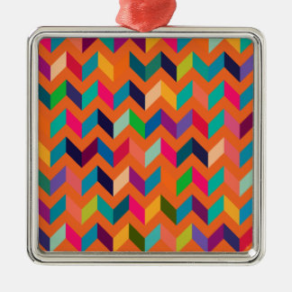 Chevron Zig Zag Wild Colors Orange Christmas Tree Ornament