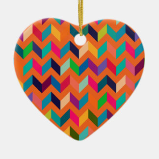 Chevron Zig Zag Wild Colors Orange Ornaments